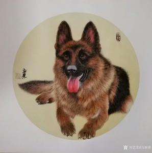 马新荣国画《狗—旺财》