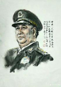 王晓鹏国画《陈炳德上将肖像画》
