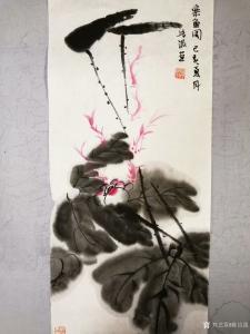 陈培泼国画作品《荷塘清趣》价格500.00元