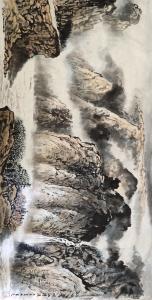 王元国画作品-《峡江搏浪》
