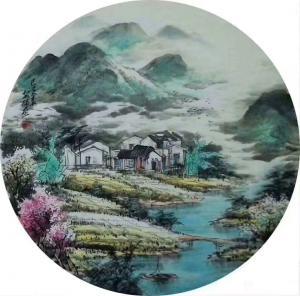 吴朝阳国画作品-《山水画世外桃源春》