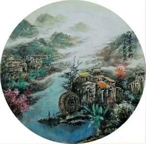 吴朝阳国画作品-《山水画苗寨晨韵》