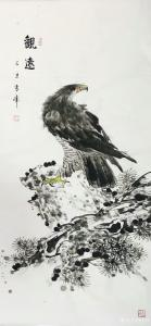 袁峰国画《鹰-观远》