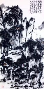 龚光万国画作品-《乱泉声里鸟鸣幽》