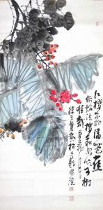 徐立业国画《红樱桃绿芭蕉》