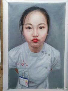 黎群油画作品《人物肖像画实习护士》议价