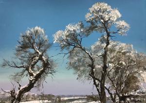 宋德发油画作品-《雪后银装》