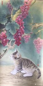 """汪林国画作品《猫与蚂蚱""""秋趣""""》价格800.00元"""