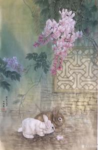 汪林国画作品《簕杜鹃花下的双兔图》价格800.00元