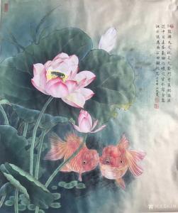 汪林国画作品《工笔荷花鲤鱼》价格800.00元