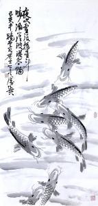 龚光万国画作品-《鱼-夜吹雪浪摇星斗》