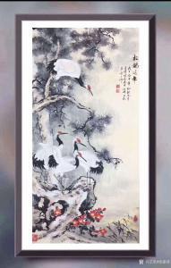 徐建清国画作品-《花鸟画-松鹤延年》