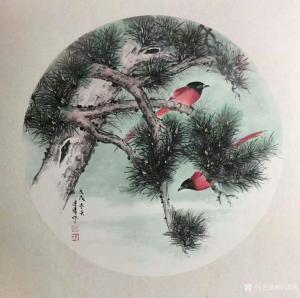 徐建清国画作品-《花鸟画-松间红影1》