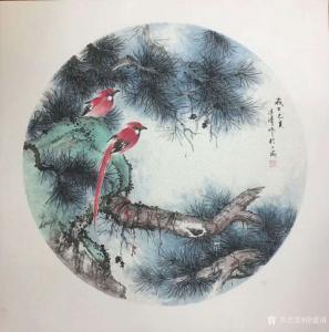 徐建清国画作品-《花鸟画-松间红影2》