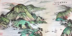 徐建清国画作品-《山水画-江村春晓》