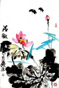 甘庆琼国画作品-《写意荷花蜻蜓》