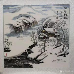 吉大华国画作品《冬景-瑞雪飘飘》价格600.00元