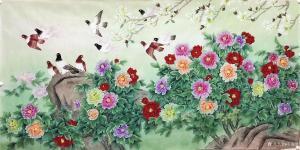 石海博国画作品-《花鸟画-花开富贵1》