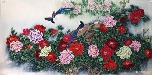 石海博国画作品-《花鸟画-花开富贵2》