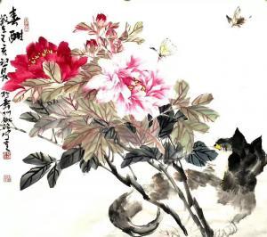 姚玲国画作品-《牡丹花--春酣》