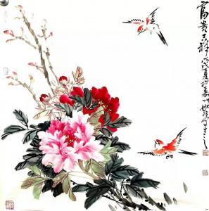 姚玲国画作品-《牡丹花-富贵吉祥》