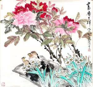 姚玲国画作品-《牡丹花--富贵吉祥2》