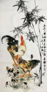 卢士杰国画作品-《鸡-平安大吉》