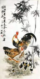 卢士杰国画作品-《鸡-平安大吉2》