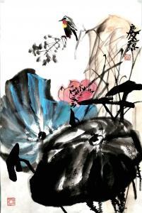 甘庆琼国画作品-《国画荷花~清趣》