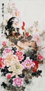 卢士杰国画作品-《鸡-思爱吉祥》