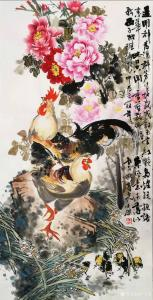 卢士杰国画作品-《公鸡牡丹》