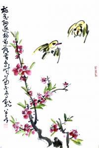 龚光万国画《花鸟-桃花细逐杨花落》