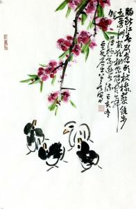 龚光万国画作品-《花鸟-肠断江春欲尽头》