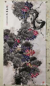 韩宗华国画作品《葡萄~紫气东来》价格4000.00元