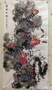 韩宗华国画作品《葡萄麻雀~硕果累累横》价格4000.00元