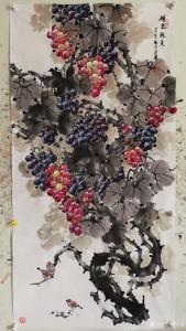 韩宗华国画作品《葡萄麻雀~硕果累累竖》价格4000.00元