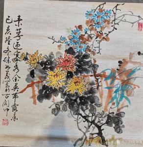 徐如茂国画作品《花鸟-秋菊》价格800.00元