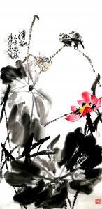 甘庆琼国画作品-《荷花~清趣》