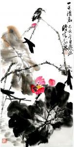 甘庆琼国画作品-《荷花~一世清名》