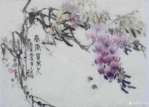 李伟强国画《花鸟-香风留美人》