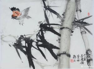李伟强国画《花鸟竹-高节》