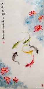 夏沁国画作品-《六六大顺》