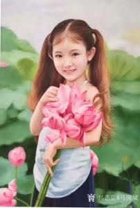 马国斌油画作品《荷叶间的女孩》议价