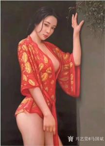 马国斌油画作品《撩人的红睡衣》议价