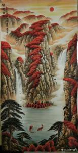 宁建华国画作品-《山水画-鸿运当头》