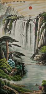 宁建华国画作品-《山水画-福寿祥和》