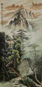宁建华国画《山水画-云山春晓》