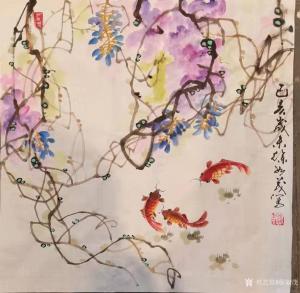 徐如茂国画《花鸟-金鱼》