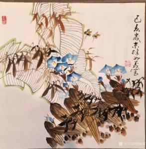 徐如茂国画作品-《花鸟-竹芭蕉喇叭花》