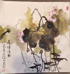 徐如茂国画作品-《花鸟-荷花》